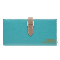 Hermes Bearn Soufflet Bi-color Blue paon/Etoupe grey Epsom leather Silver hardware