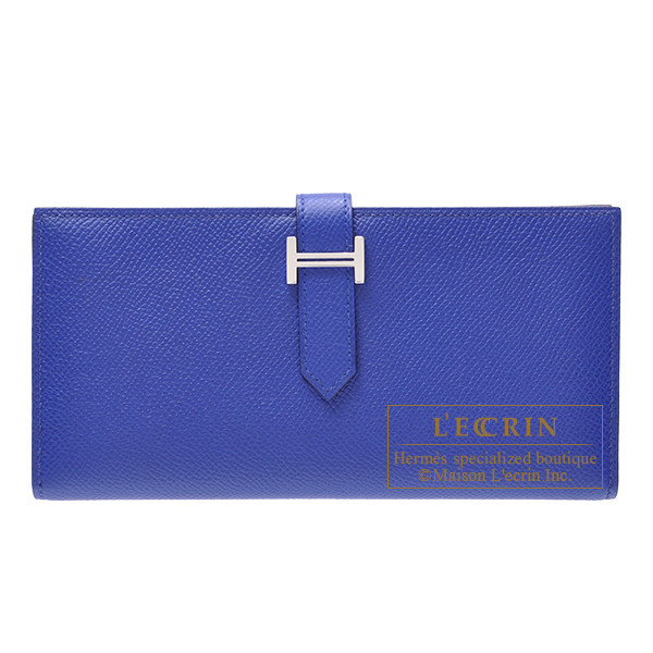 Hermes Bearn Soufflet Blue electric Epsom leather Silver hardware