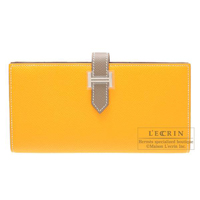 Hermes Bearn Soufflet Bi-color Jaune d'or/Etoupe grey Epsom leather Silver hardware