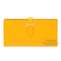 Hermes Bearn Soufflet Jaune d'or Epsom leather Gold hardware