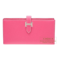 Hermes Bearn Soufflet Rose tyrien Epsom leather Silver hardware