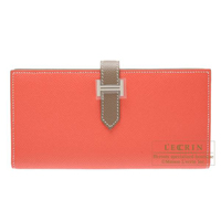 Hermes Bearn Soufflet Bi-color Rose jaipur/Etoupe grey Epsom leather Silver hardware