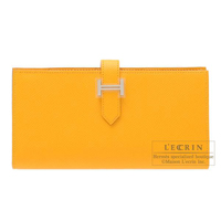Hermes Bearn Soufflet Jaune d'or Epsom leather Silver hardware
