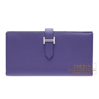 Hermes Bearn Soufflet Crocus Epsom leather Silver hardware
