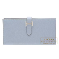 Hermes Bearn Soufflet Blue lin Epsom leather Silver hardware