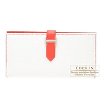 Hermes Bearn bi-fold wallet Bi-color  White/Rose jaipur Epsom leather Silver hardware