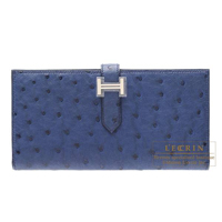 Hermes Bearn Soufflet Blue roy Ostrich leather Silver hardware