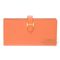 Hermes Bearn Soufflet Mango Epsom leather Gold hardware