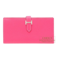 Hermes Bearn bi-fold wallet Rose tyrien Epsom leather Silver hardware
