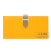 Hermes Bearn bi-fold wallet Bi-color  Jaune d'or/Etoupe grey Epsom leather Silver hardware