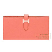 Hermes Bearn Soufflet Flamingo Epsom leather Silver hardware