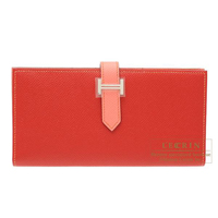 Hermes Bearn Soufflet Bi-color Rouge casaque/Flamingo Epsom leather Silver hardware