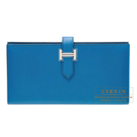 Hermes Bearn Soufflet Blue izmir Tadelakt leather Mat Silver hardware