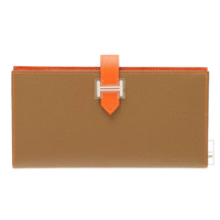 Hermes Bearn Soufflet Bi-color Alezan/Feu Epsom leather Silver hardware