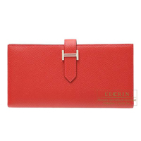 Hermes Bearn Soufflet Rouge garance Epsom leather Silver hardware