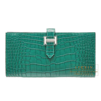 Hermes Bearn Soufflet Malachite Matt alligator crocodile skin Silver hardware