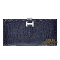 Hermes Bearn Soufflet Blue indigo Matt alligator crocodile skin Silver hardware