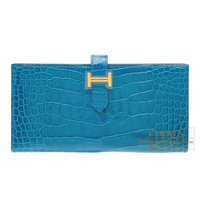 Hermes Bearn Soufflet Blue izmir Alligator crocodile skin Gold hardware