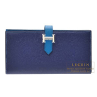 Hermes Bearn Soufflet Bi-color Blue saphir/Blue izmir Epsom leather Silver hardware