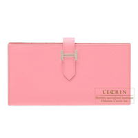 Hermes Bearn Soufflet Rose confetti Epsom leather Silver hardware