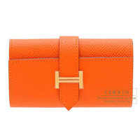 Hermes Bearn key case/4 key holder Feu Epsom leather Gold hardware