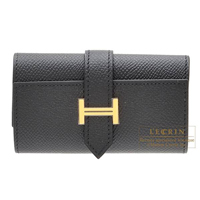 Hermes Bearn key case/4 key holder Black Epsom leather Gold hardware