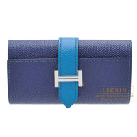 Hermes Bearn key case/4 key holder Bi-color Blue saphir/Blue izmir Epsom leather Silver hardware