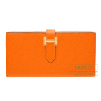 Hermes Bearn Soufflet Feu Epsom leather Gold hardware