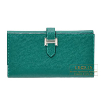 Hermes Bearn tri-fold wallet Malachite Epsom leather Silver hardware