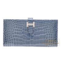 Hermes Bearn bi-fold wallet Blue tempete Alligator crocodile skin Silver hardware