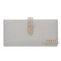 Hermes Bearn Soufflet Bi-color Pearl grey/Ficelle Tadelakt leather/Lizard skin Silver hardware