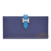 Hermes Bearn bi-fold wallet Bi-color  Blue saphir/Blue izmir Epsom leather Silver hardware