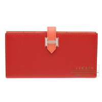 Hermes Bearn bi-fold wallet Bi-color  Rouge casaque/Flamingo Epsom leather Silver hardware
