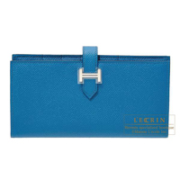Hermes Bearn Soufflet Blue izmir Epsom leather Silver hardware