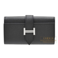 Hermes Bearn key case/4 key holder Black Epsom leather Silver hardware