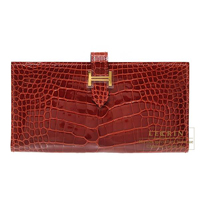 Hermes Bearn Soufflet Rouge H Alligator crocodile skin Gold hardware