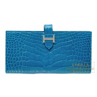 Hermes Bearn Soufflet Blue izmir Alligator crocodile skin Silver hardware