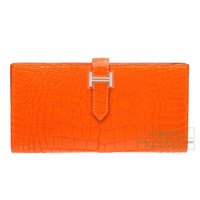 Hermes Bearn Soufflet Feu Matt alligator crocodile skin Silver hardware