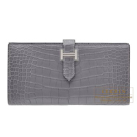 Hermes Bearn Soufflet Paris grey Matt alligator crocodile skin Silver hardware