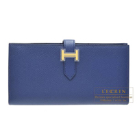 Hermes Bearn Soufflet Blue saphir Epsom leather Gold hardware