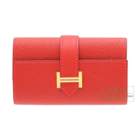 Hermes Bearn key case/4 key holder Rouge casaque Epsom leather Gold hardware