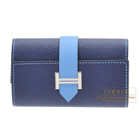 Hermes Bearn key case/4 key holder Bi-color Blue saphir/Blue paradise Epsom leather Silver hardware