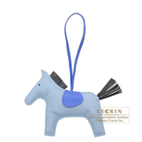 Hermes Rodeo charm GM Blue lin/Black Agneau