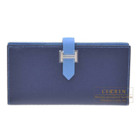 Hermes Bearn Soufflet Bi-color Blue saphir/ Blue paradise Epsom leather Silver hardware