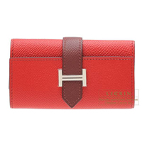 Hermes Bearn key case/4 key holder Bi-color Rouge casaque/Rouge H Epsom leather Silver hardware