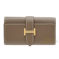 Hermes Bearn key case/4 key holder Etoupe grey Epsom leather Gold hardware