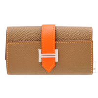 Hermes Bearn key case/4 key holder Bi-color Alezan/Feu Epsom leather Silver hardware