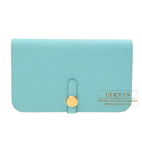 Hermes Dogon GM Blue atoll Togo leather Gold hardware