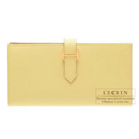 Hermes Bearn Soufflet Jaune poussin Epsom leather Gold hardware
