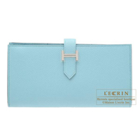 Hermes Bearn Soufflet Blue atoll Epsom leather Silver hardware